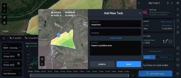creating a scouting task in Crop Monitoring interface