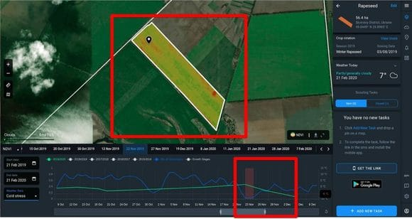 detecting with Crop Monitoring when cold stress occures