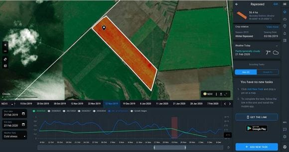 how Crop Monitoring shows vegetation damaged with cold stress