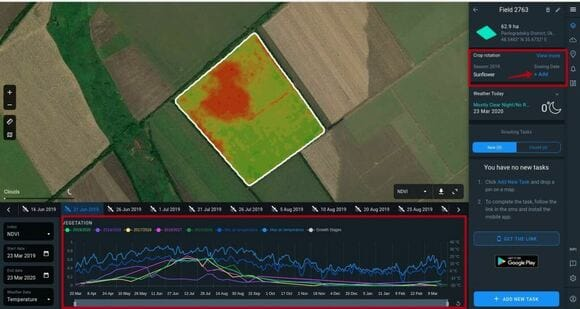 how to add crop type and its sowing date on Crop Monitoring