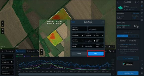 saving crop types and their sowing dates in Crop Monitoring Edit Field window