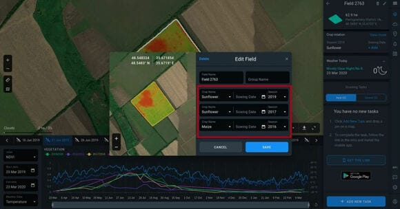 field details window to set crops types and their sowing dates on Crop Monitoring