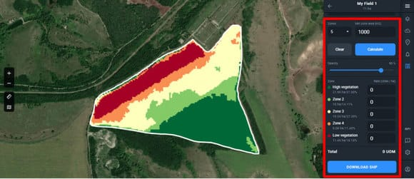 field devided into five zones on Crop Monitoring