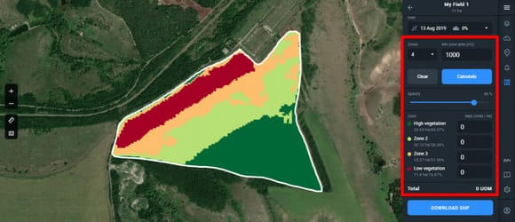 field devided into four zones on Crop Monitoring