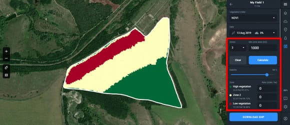 field devided into three zones on Crop Monitoring
