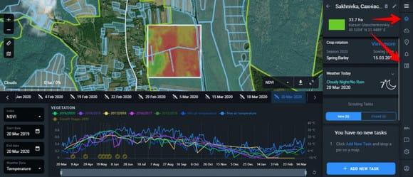 Zoning tab in Crop Monitoring interface