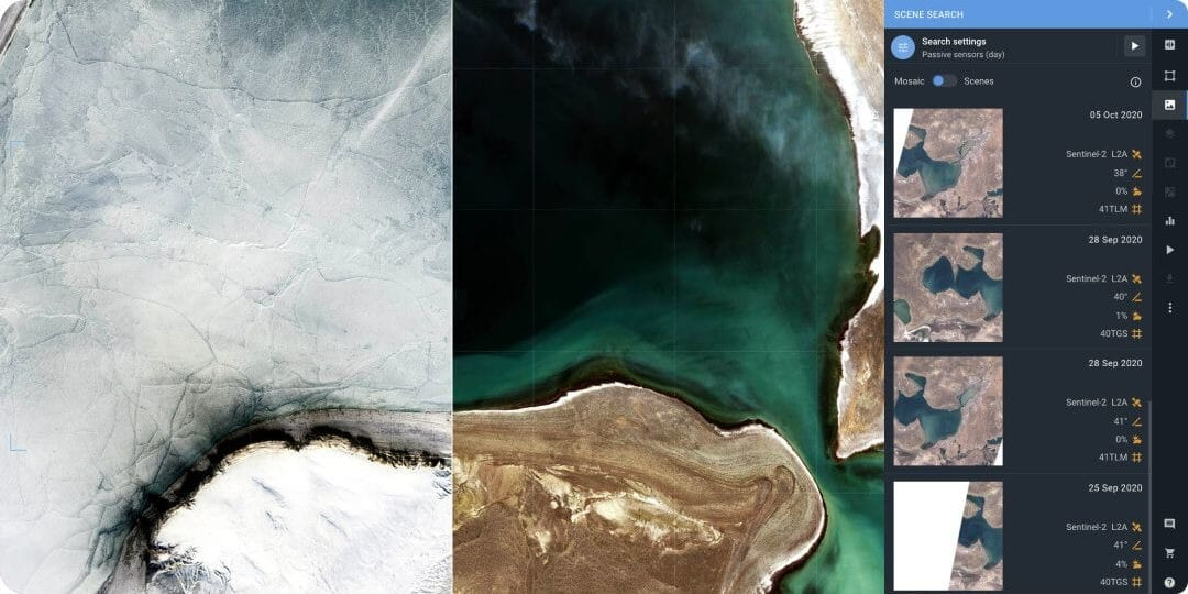 LandViewer library of satellite images